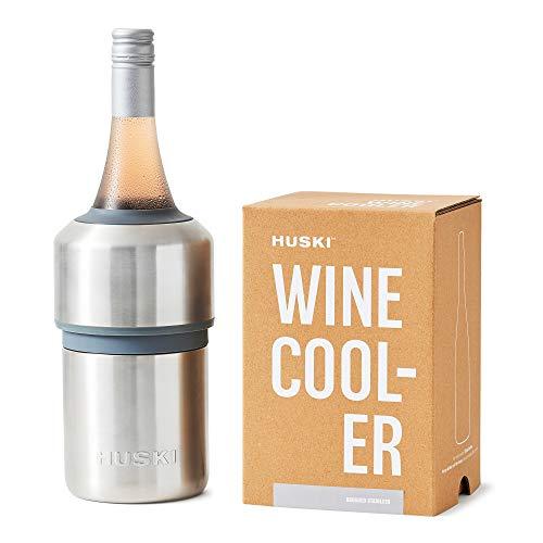 Huski - Enfriador de vino | Enfriador de vino sin hielo premium | Mantiene el vino frío hasta 6 horas | Diseño galardonado | Accesorio para vino | Se adapta a algunas botellas de champán | Regalo perfecto para los amantes del vino (inoxidable)