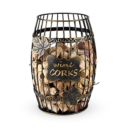 TRUE Expositor de Vino, Cocina con Barril de Vino, Caja de Almacenamiento Decorativa de Corcho, Juego de 1, Color marrón