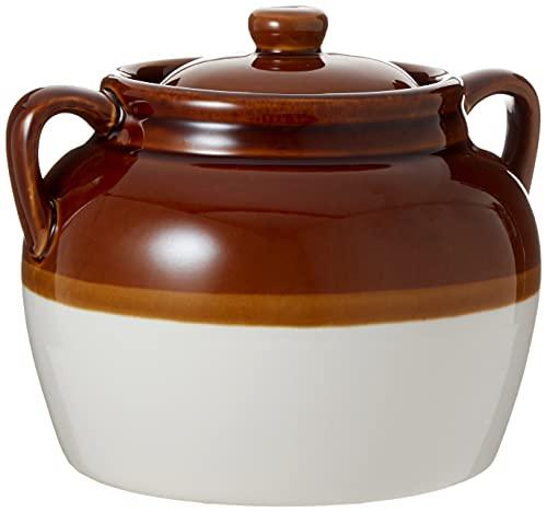 R & M International - Puf grande de cerámica de 4,5 quilates, Bean Pot (Large), Marrón, 4.5 qt, 1