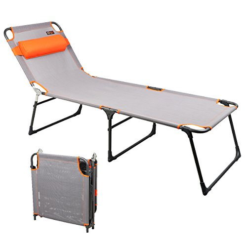 PORTAL Tumbona reclinable Ajustable Plegable para la Playa, Color Gris, tamaño configurado: 76 Pulgadas de Largo x 25 Pulgadas de Ancho x 15 Pulgadas de Alto