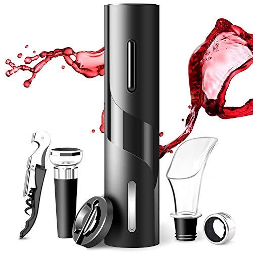 Sacacorchos Eléctrico de Vinos 6 En 1 AutomáTico de Abridor de Vino Eléctrico de Botella de Vino y Accesorios de Acero Inoxidable con Cortador de LáMinas Juego de Abridor de Eléctrico para Vino Cava