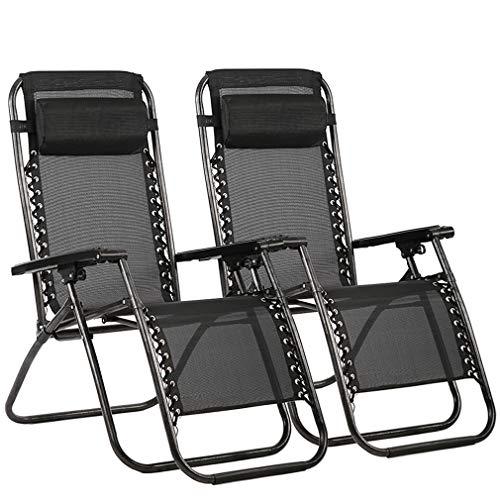 FDW BestMassage - Juego de 2 sillas reclinables para Patio o salón, Ajustables, Plegables, para Piscina, Exterior, Patio, Playa, Color Negro